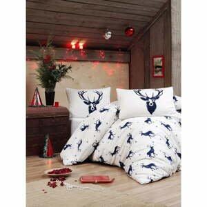 Obliečky s plachtou s prímesou bavlny na jednolôžko Eponj Home Geyik Dark Blue, 160 × 220 cm