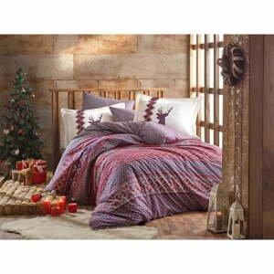 Obliečky s plachtou z bavlneného popelínu na jednolôžko Hobby Clarinda Claret Red, 160 × 220 cm