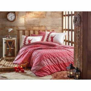 Obliečky s plachtou z bavlneného popelínu na jednolôžko Hobby Clarinda Red, 160 × 220 cm