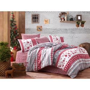 Obliečky s plachtou na dvojlôžko z ranforce bavlny Nazenin Home Snow Grey, 200 × 220 cm