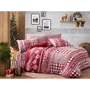 Obliečky s plachtou na jednolôžko z ranforce bavlny Nazenin Home Deer Claret Red, 140 × 200 cm