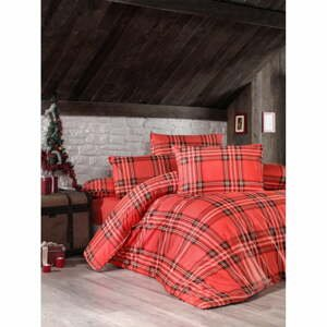 Červené obliečky s plachtou na dvojlôžko z ranforce bavlny Victoria Linda, 200 × 220 cm