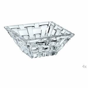Sada 4 štvorcových misiek na dip z krištáľového skla Nachtmann Bossa Nova, 8,5 × 8,5 cm