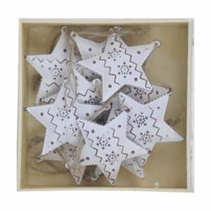 Sada 10 bielych vianočných ozdôb z kovu v tvare hviezdy Ego Dekor Christmas Box