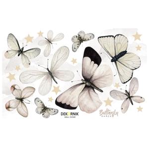 Sada nástenných samolepiek v tvare motýľov Dekornik, 80 x 50 cm