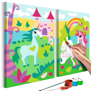 DIY set na tvorbu vlastného dvojdielneho obrazu na plátne Artgeist Fairytale Unicorns, 33×23 cm