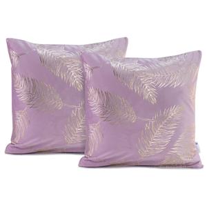 Sada 2 svetlofialových obliečok na vankúše DecoKing Golden Leafes Lilac, 45 × 45 cm