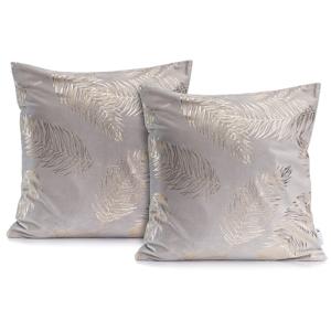 Sada 2 sivých obliečok na vankúše DecoKing Golden Leafes Silver, 45 × 45 cm
