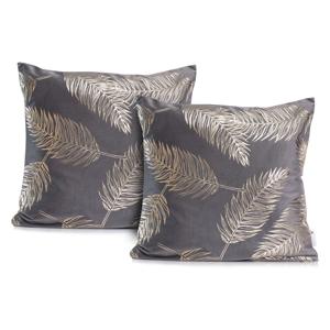 Sada 2 sivých obliečok na vankúše DecoKing Golden Leafes Steel, 45 × 45 cm