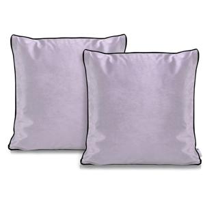 Súprava 2 svetlofialových obliečok na vankúše DecoKing Rimavelvet Lilac, 45 × 45 cm