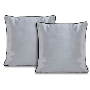 Súprava 2 sivých obliečok na vankúše DecoKing Rimavelvet Silver, 45 × 45 cm