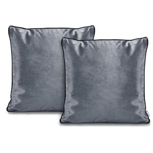Súprava 2 sivých obliečok na vankúše DecoKing Rimavelvet Steel, 45 × 45 cm