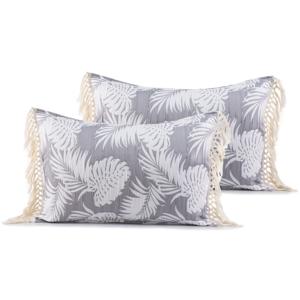 Súprava 2 sivých obliečok na vankúše DecoKing Tropical Leafes, 50 × 70 cm