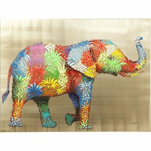 Obraz slona Kare Design Touched Flower Elefant, 120 × 90 cm