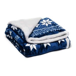 Modrá mikroplyšová deka My House Winter, 150 x 200 cm