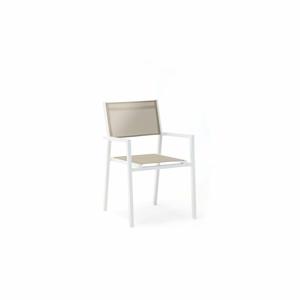 Súprava 4 sivo-bielych záhradných stoličiek s podrúčkami Ezeis Zephyr