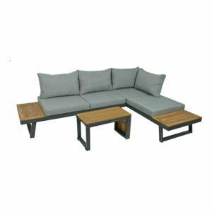 3-dielna sivá záhradná sedacia súprava so stolíkom s konštrukciou z hliníka ADDU Felice