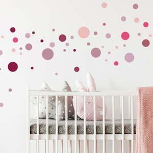 Sada 100 ružových nástenných samolepiek Ambiance Round Stickers