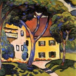 Reprodukcia obrazu August Macke - House in a Landscape, 60×60 cm