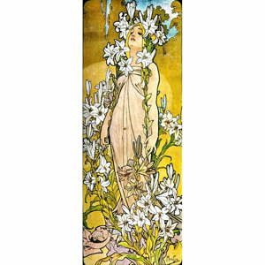 Reprodukcia obrazu Alfons Mucha - The Flowers Lily, 30×80 cm