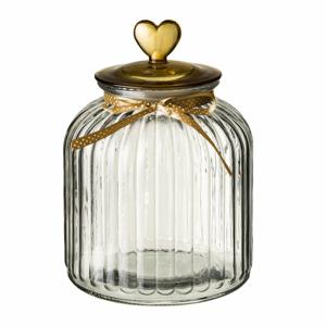 Sklenená dóza s viečkom v zlatej farbe Unimasa Heart, 4,2 l