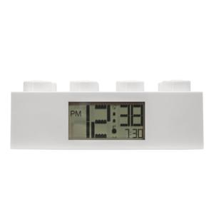 Biele digitálne hodiny s budíkom LEGO® Brick