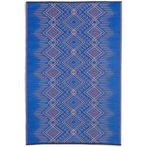 Modrý obojstranný vonkajší koberec z recyklovaného plastu Fab Hab Jodhpur Multi Blue, 90 x 150 cm
