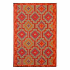 Oranžovo-fialový obojstranný vonkajší koberec z recyklovaného plastu Fab Hab Lhasa Orange & Violet, 90 x 150 cm