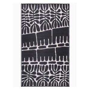 Čierny obojstranný vonkajší koberec z recyklovaného plastu Fab Hab Serowe Black, 90 x 150 cm