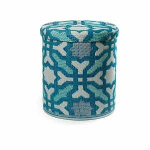 Tyrkysový vonkajší puf s úložným priestorom Fab Hab Seville Multicolor Blue