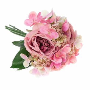 Umelá dekoratívna kytica hortenzií a ruže Dakls Pessa
