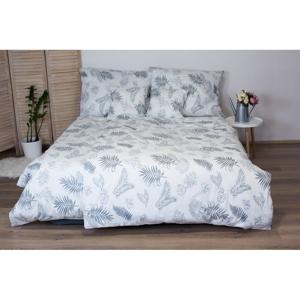Bielo-sivé bavlnené posteľné obliečky Cotton House Leafs, 140x200 cm