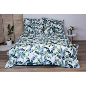 Zelené bavlnené posteľné obliečky Cotton House Palmas, 140x200 cm