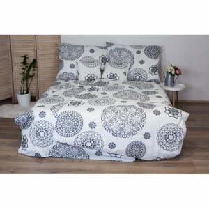 Bielo-sivé bavlnené posteľné obliečky Cotton House Mandala, 140x200 cm