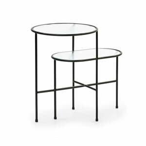 Čierny odkladací stolík so sklenenou doskou Teulat Nix