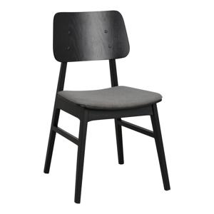 Čierna jedálenská stolička s tmavosivým sedákom Rowico Nagano