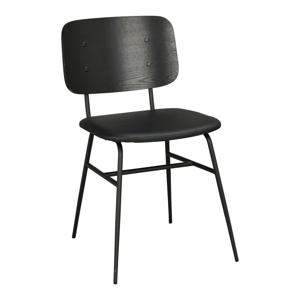Čierna jedálenská stolička s čiernym mäkkým sedadlom Rowico Brent