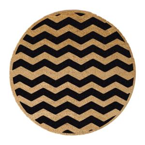 Čierna okrúhla rohožka z prírodného kokosového vlákna Artsy Doormats Chevron, ⌀ 70 cm