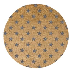 Sivá okrúhla rohožka z prírodného kokosového vlákna Artsy Doormats Stars, ⌀ 70 cm