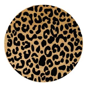 Čierna okrúhla rohožka z prírodného kokosového vlákna Artsy Doormats Leopard, ⌀ 70 cm