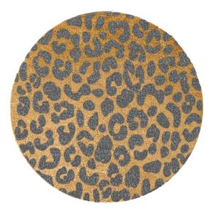 Sivá okrúhla rohožka z prírodného kokosového vlákna Artsy Doormats Leopard, ⌀ 70 cm