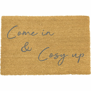 Sivá rohožka z prírodného kokosového vlákna Artsy Doormats Come In & Cosy Up, 40 x 60 cm