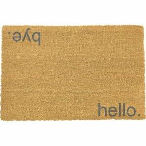 Sivá rohožka z prírodného kokosového vlákna Artsy Doormats Hello, Bye, 40 x 60 cm