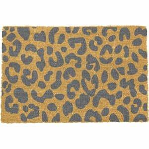 Sivá rohožka z prírodného kokosového vlákna Artsy Doormats Leopard, 40 x 60 cm