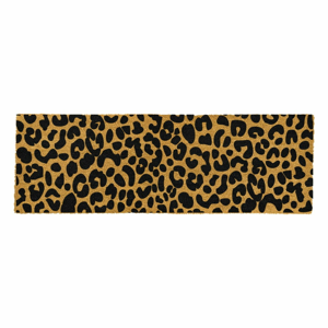 Čierna rohožka z prírodného kokosového vlákna Artsy Doormats Leopard, 120 x 40 cm