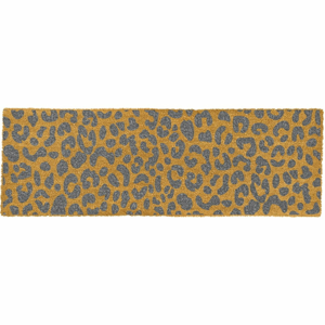 Sivá rohožka z prírodného kokosového vlákna Artsy Doormats Leopard, 120 x 40 cm