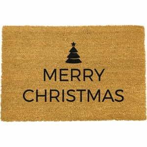 Čierna rohožka z prírodného kokosového vlákna Artsy Doormats Merry Christmas, 40 x 60 cm