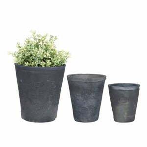 Set 3 sivých terakotových kvetináčov Esschert Design