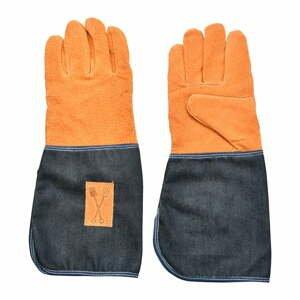 Modro-oranžové záhradnícke rukavice s ochranou zápästia Esschert Design Denim