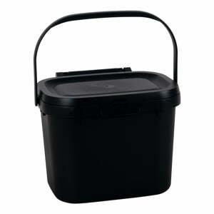 Čierne viacúčelové plastové kuchynské vedro s vrchnákom Addis, 24,5x18,5x19cm